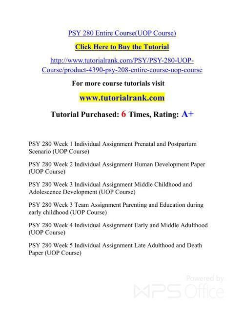 PSY 280 Potential Instructors/tutorialrank.com