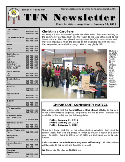 TFN Newsletter - January 15, 2011