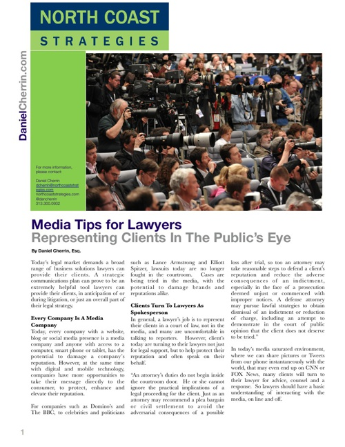 Media Tips for Lawyers: Representing Clients In The Public's Eye