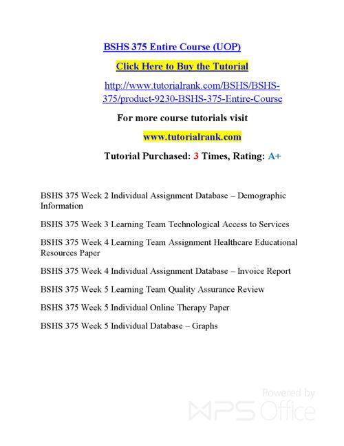 BSHS 375  Course Success Begins / tutorialrank.com