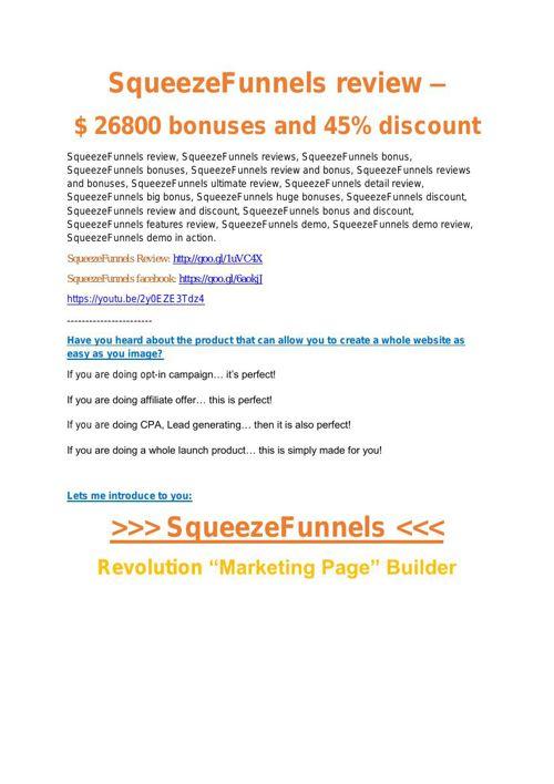 Squeeze Funnels Review demo - $22,700 bonus