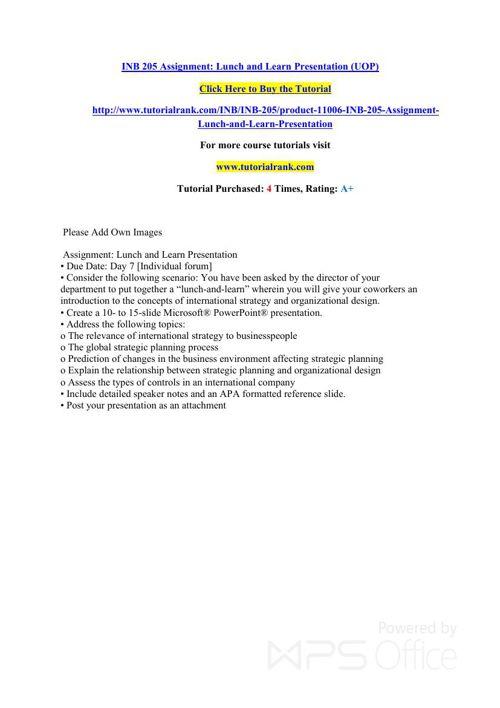 INB 205 learning consultant - tutorialrank.com