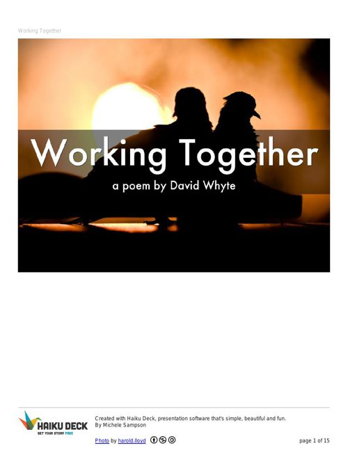 Working Together by David Whyte