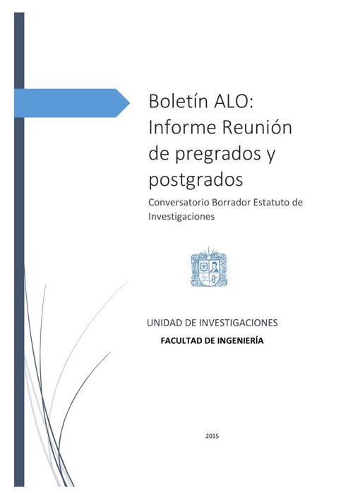 Boletín 2. Informe Reunión de pregrados y postgrados
