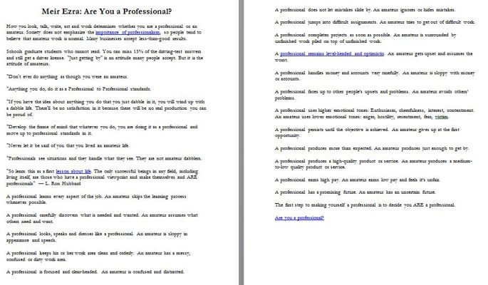 Meir Ezra: Are You a Professional?