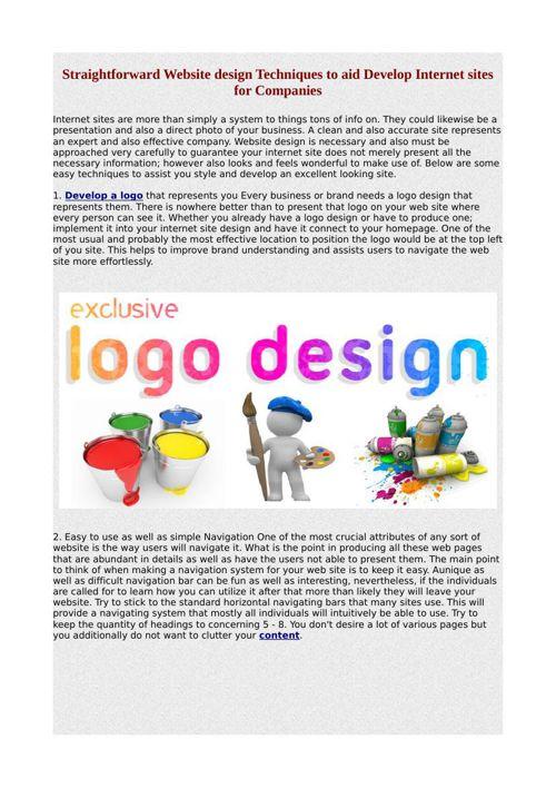 Straightforward Website design Techniques to aid Develop Interne
