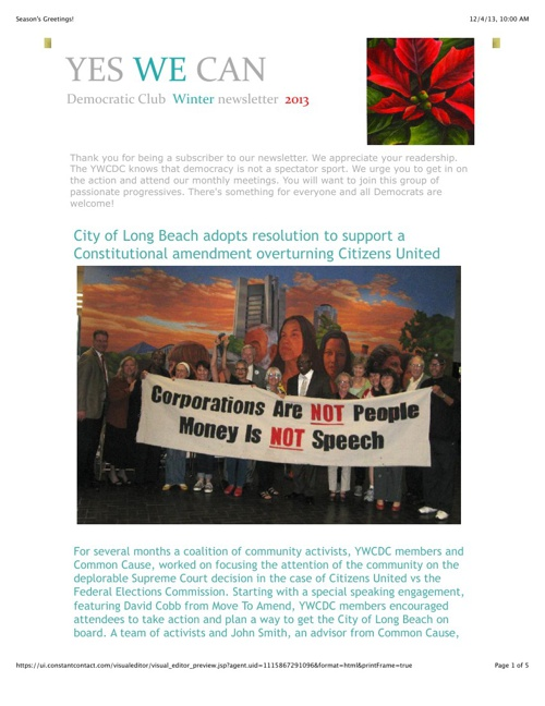 YES WE CAN Winter 2013 Newsletter