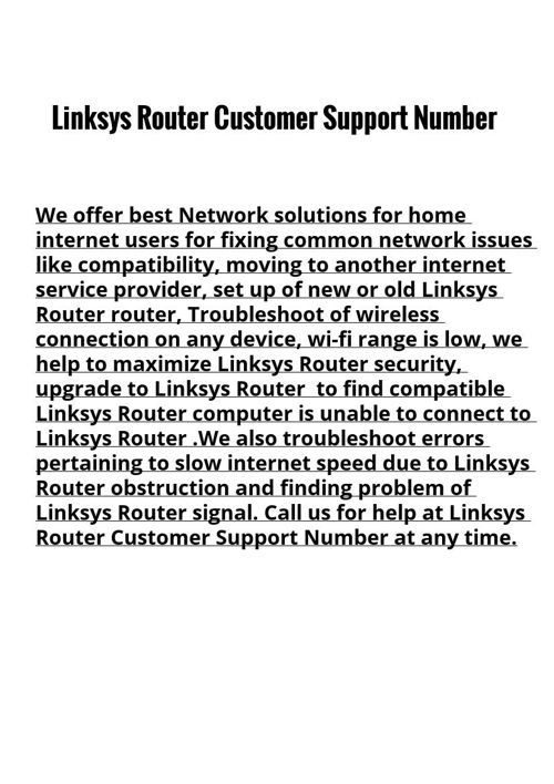 Linksys Router Customer Support Number