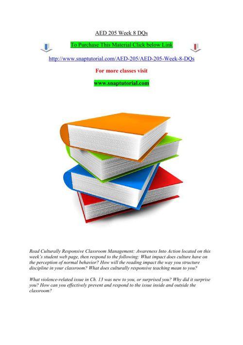 AED 205 Week 8 DQs