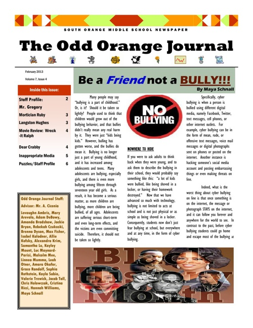 Odd Orange Journal - Feb 2013