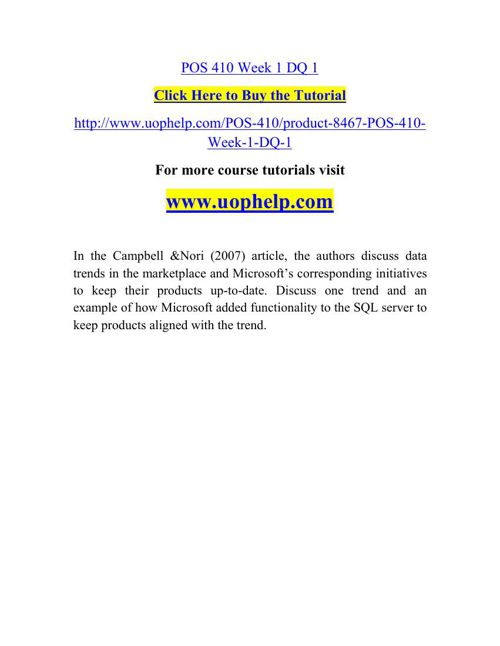 POS 410 Instant Education/uophelp