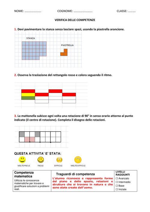 VERIFICA DELLE COMPETENZE isometrie