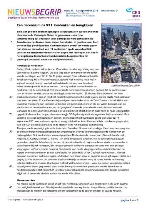 9/11 herdenken - tekst/opdrachten