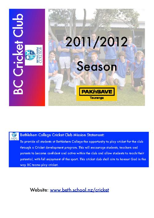BC Cricket Club 2011/12 Season Newsletter