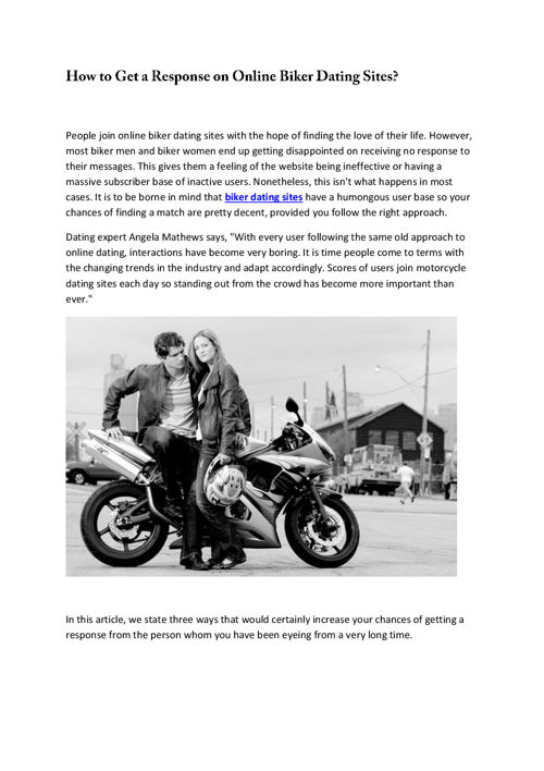 How to Get a Response on Online Biker Dating Sites