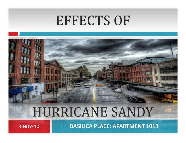 EFFECTS OF HURRICANE SANDY (UNIT-1013) BASILICA PLACE: