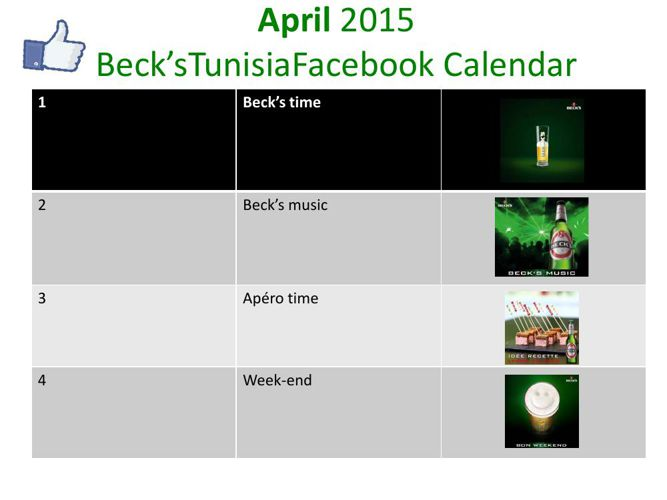 calendrier beck's Avril