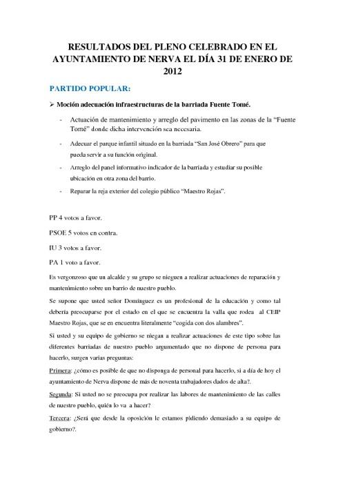 Resultados del pleno celebrado el 31/01/2012