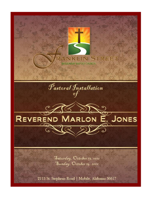 Installation Service Souvenir Booklet for Rev Marlon E Jones