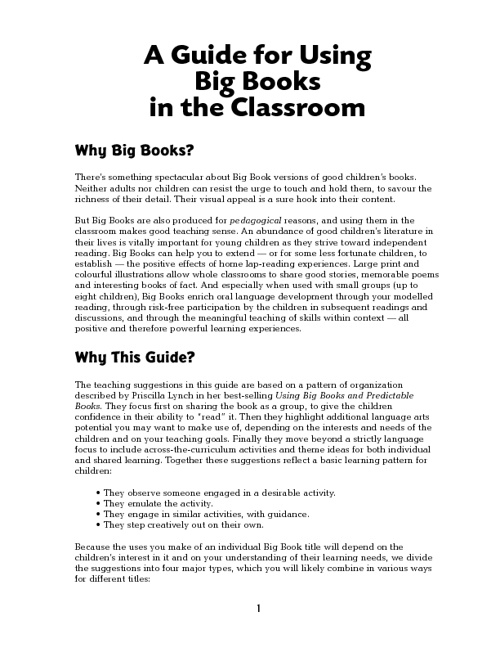 A Guide for Using  Big Books  in the Classroom