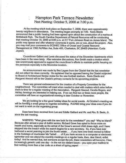 HPT Neighborhood October 2000