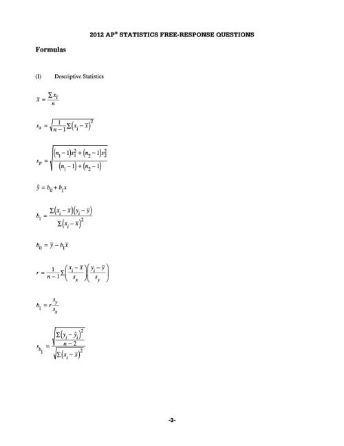 AP Statistics Formulas and Tables