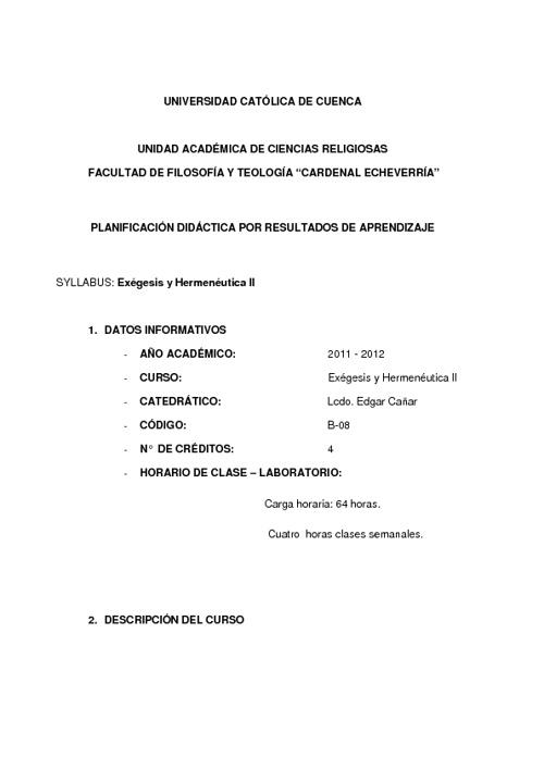 Exegesis y Hermenéutica II