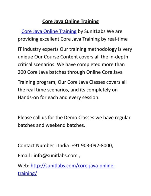 Core Java Online Training by IT Professional Trainers