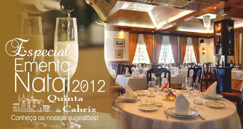 Ementa de Natal 2012 - Quinta de Cabriz