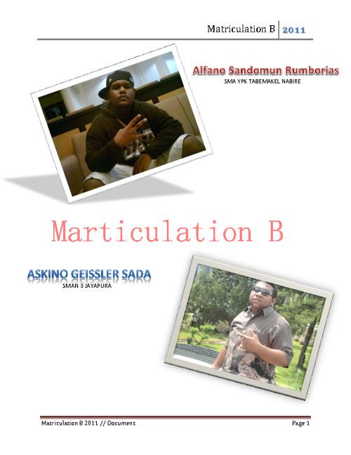 Marticulation B