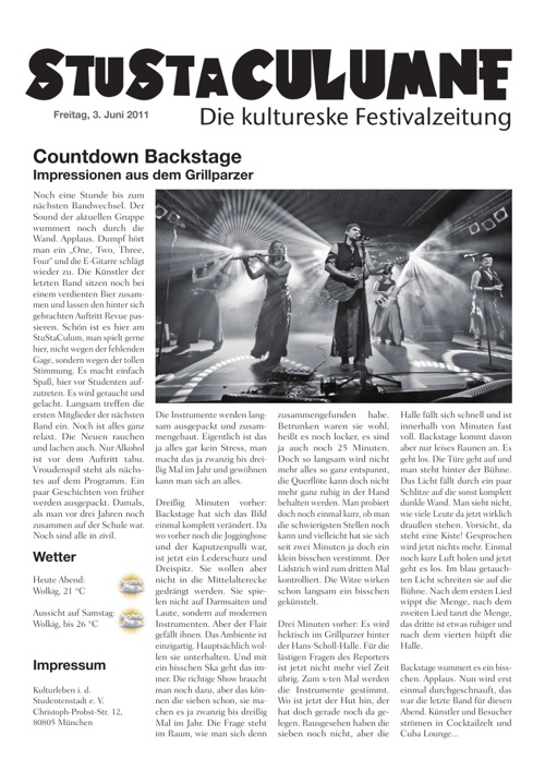 StustaCulum Zeitung Freitag