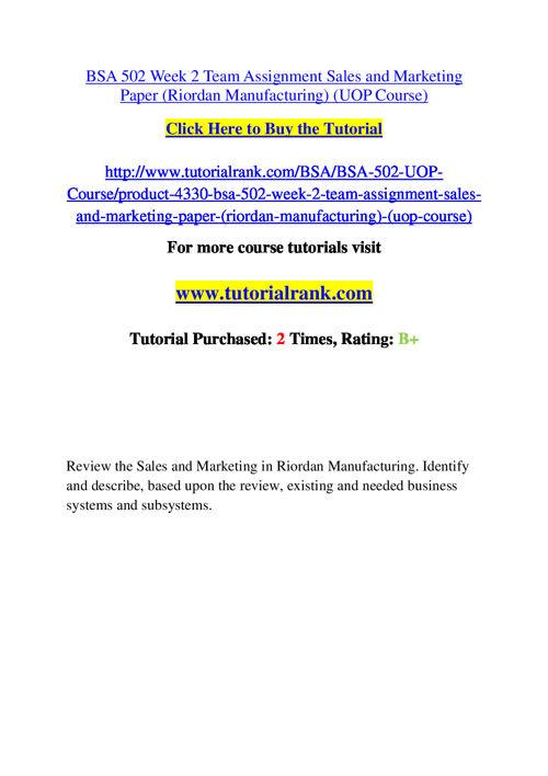BSA 502 Course Success Begins / tutorialrank.com