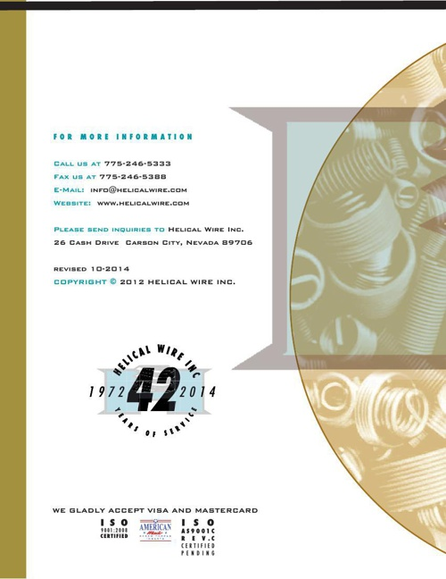 Helical Wire Catalog 2014-2015