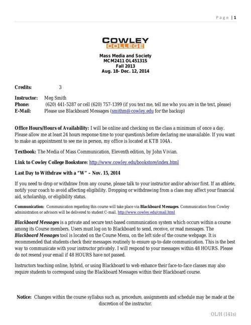 Mass Media and Society syllabus for Fall 2014