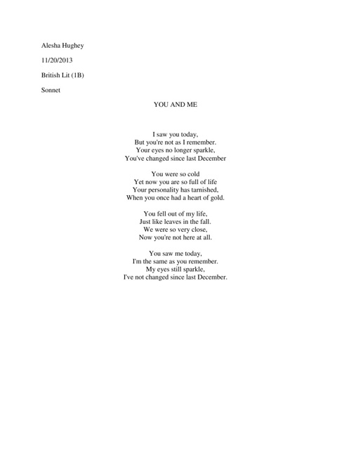 Sonnet Poem