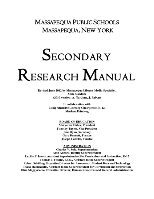 Secondary Research Manual 2012