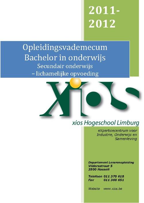 Opleidingsvademecum 2011-2012 Lichamelijke Opvoeding