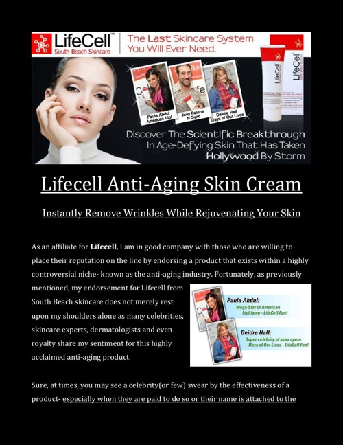 Lifecell Skin Cream Taking Anti-Aging to New Heights