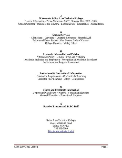 SATC College Catalog 2010 - 11