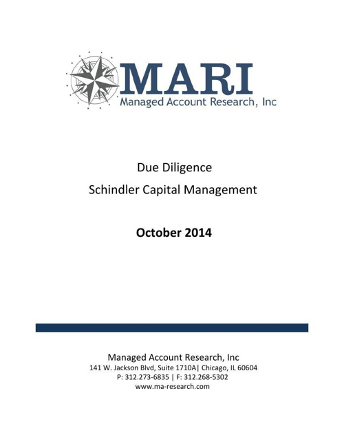 MARI Schindler Due Diligence Oct'14