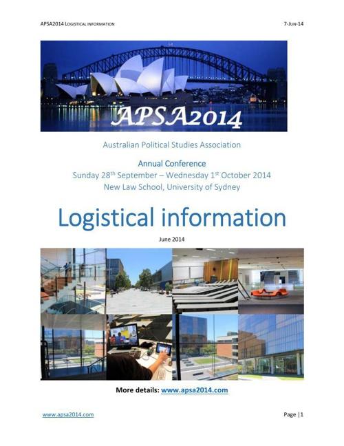 APSA2014 Logistical information