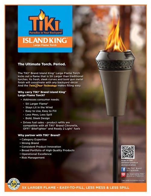 2015 - TIKI® Island King® Large Flame Torch and 4 in 1 Multi-Use