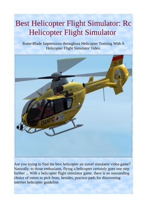 Best Helicopter Flight Simulator: Rc Helicopter Flight Simulator