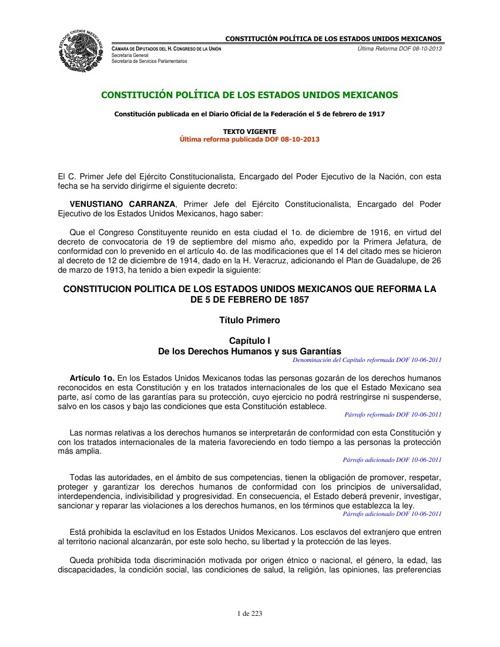 CONSTITUCION DE LOS ESTADOS UNIDOS MEXICANOS