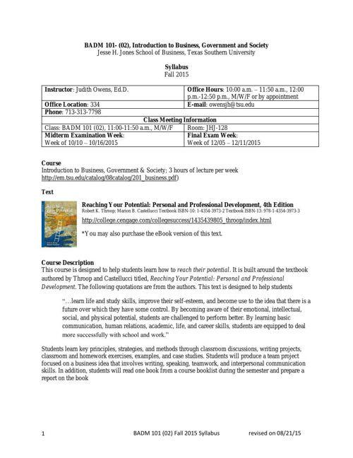 BADM 101 - 02 Syllabus for Fall 2015