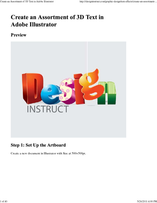 New Flip Illustrator 3D Text