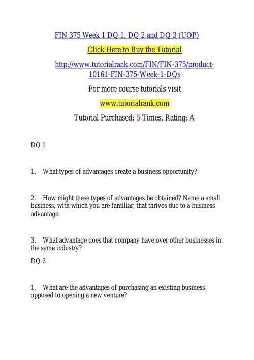 FIN 375 learning consultant / tutorialrank.com
