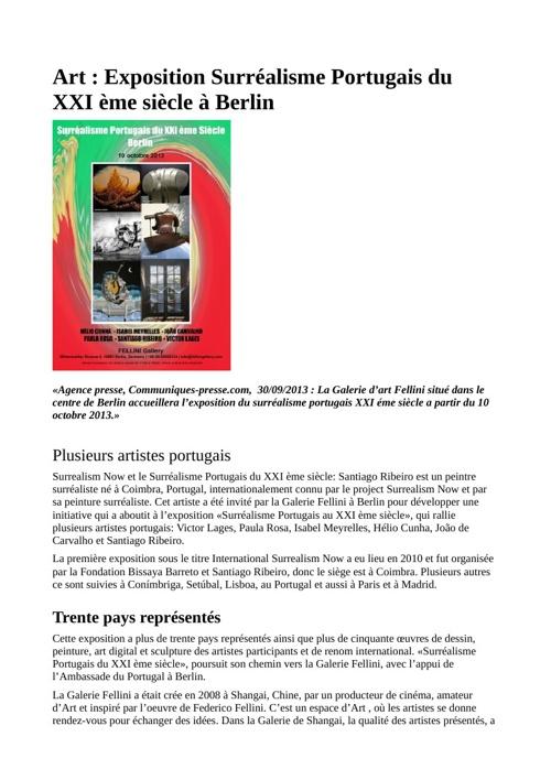 Art : Exposition Surréalisme Portugais du XXI ème siècle à Berli
