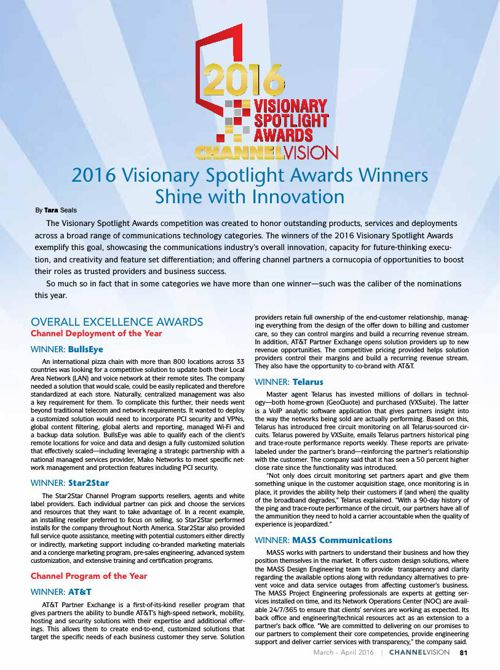 ChannelVision 2016 Visionary Spotlight Awards