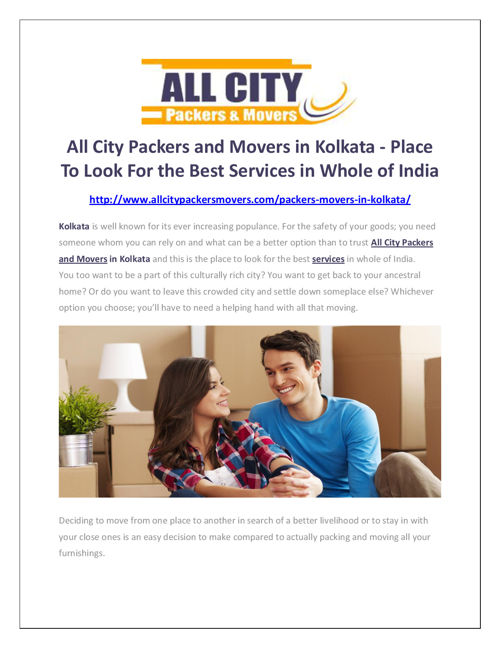 Packers and Movers in Kolkata - All City Packers and Movers®
